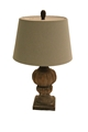 WOODEN LAMP W/ SLATE BLUE SHADE