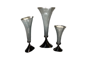 S/3 ALUMINUM NEW PEARL FINISH VASES