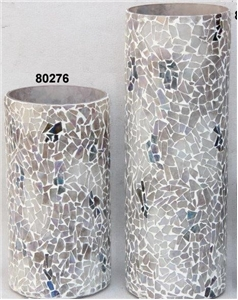 COBBLESTONE MOSAIC PILLARED CANDLEHOLDER SET