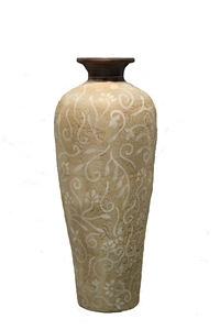 CREAM PAISLEY TALL VASE