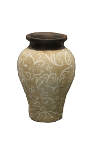 CREAM PAISLEY SHORT VASE