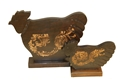 SET OF 2 WOOD ROOSTERS