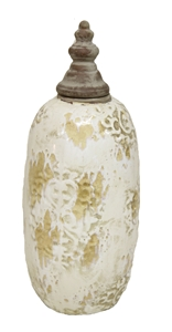 LARGE JAR WITH LID - CREAM & BROWN