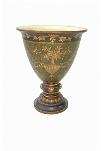 TALL BOWL-SHAPED URN WITH GOLDLEAF DECOR