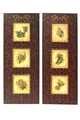 PAIR OF BURGUNDY BIRD PANELS