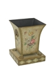 SMALL SQUARE TOLE PLANTER WITH HANDPAINTED FLORAL