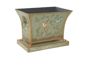 RECTANGLE TOLE PLANTER WITH HANDPAINTED BIRDS