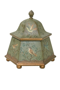 HEXAGON LIDDED BOX WITH HANDPAINTED BIRDS