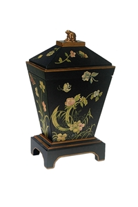 BLACK BOX WITH PAINTED FLORAL
