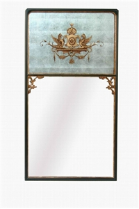 RECTANGLE MIRROR - SILVER LEAF WITH GOLD CREST
