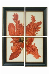 SET OF 4 ORANGE FLORAL WALL PLAQUES
