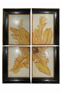 SET OF 4 YELLOW FLORAL WALL PLAQUES