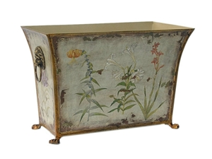 FLORAL TOLE PLANTER WITH BRASS FEET