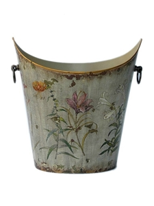 SCOOPED FLORAL TOLE PLANTER