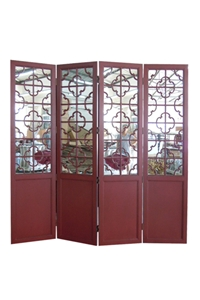 RED 4-PANEL MIRRORED SCREEN