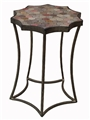 SCALLOP ACCENT TABLE W/ MOSAIC HEX INLAY