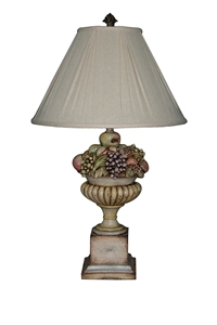 URN TABLE LAMP WITH PAINTED FRUIT