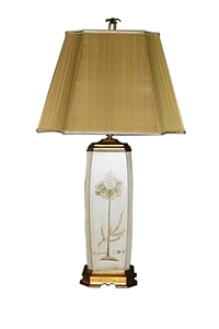 CREAM WOODEN TABLE LAMP WITH PAINTED FLORAL