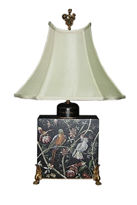 SQUARE WOODEN LAMP WITH BIRDS & BRASS FEET