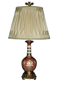 RED FLORAL LAMP WITH BRASS BASE