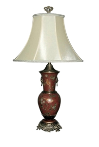 BRASS & RED PAINTED TABLE LAMP WITH FLORAL