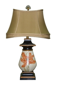 BOMBAY LAMP WITH PAINTED ORCHID