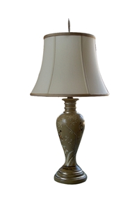 ROUND TABLE LAMP -CRM WITH BIRDS