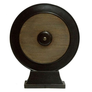 ROUND TEXTERED BRASS MEDALION ON STAND
