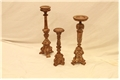 SET OF 3 BROWN CARVED CANDLE HOLDERS