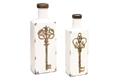 S/2 PARLIAMENTARY WHITE KEY VASES