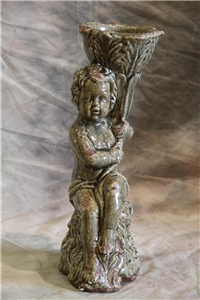 GRAY CHERUB LEFT PILLARED STATUE