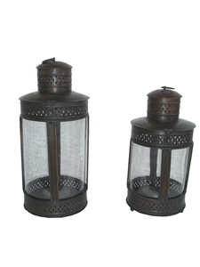 SET OF 2 ROUND LANTERNS WITH BRONZE FINISH