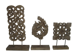 SET OF 3 WOODEN CARVED SCULPTURES