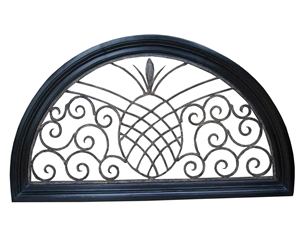 ARCHED WOOD PANEL WITH PINEAPPLE SCROLL