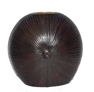 BROWN CARVED VASE WITH RAISED CENTER BUTTON