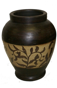 BROWN & CREAM PAINTED VASE