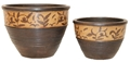 SET OF 2 BROWN & CREAM PAINTED PLANTER BOWL