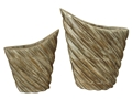 S/2 LARGE & SMALL OVAL WOOD VASES