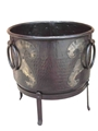 IRON ROUND KETTLE PLANTER ON STAND