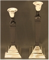 S/2 COLUMNED HAVANA FAUX ONYX CANDLE STICKS
