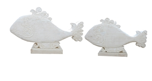 Set of 2 Ishmael's Whales - White