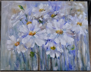 WHITE POPPIES IN THE BLUE BREEZE