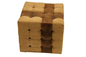 TUFTED CANVAS & LEATHER OTTOMAN