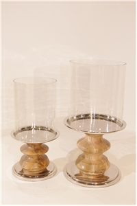 Shaker Wood Pedestal Hurricane Pair