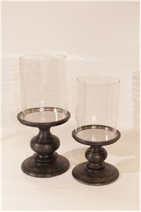 Walnut Pedestal Hurricane Pair