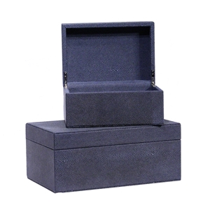 SET OF 2 SLATE SHAGREEN BOXES
