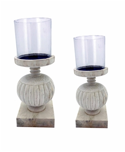 Set of 2 Luminere Candlestands - White