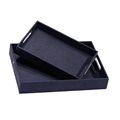 SET OF 2 SLATE SHAGREEN TRAYS