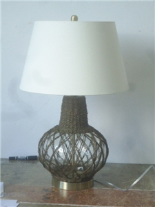 Jute Fish Bowl Table Lamp
