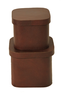 SET OF 2 BROWN WOVEN LEATHER BOXES